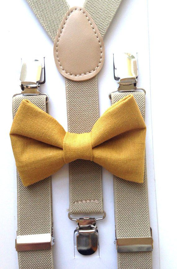 mustard yellow bow tie and khaki suspenders