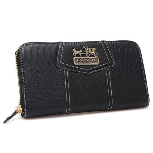 Look Here! Coach Accordion Zip In Croc Embossed Large Black Wallets CCQ Outlet Online