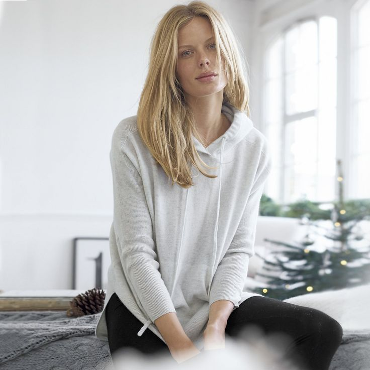 Cashmere Ribbed Sleeve Knitted Hoodie   The White Company US. Made with huggably-soft pure cashmere, our new hoodie features a stepped hem, channel pocket and is finished with a notch neckline and roomy hood. Shopping from the US? -> http://www.thewhitecompany.com/Cashmere-Ribbed-Sleeve-Knitted-Hoodie/p/CRCSH?swatch=Cloud+Marl