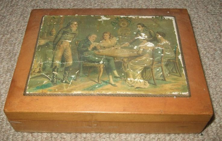 """ANTIQUE VINTAGE WOODEN """"GAME OF CHANCE"""" PLAYING CARD BOX c1850"""