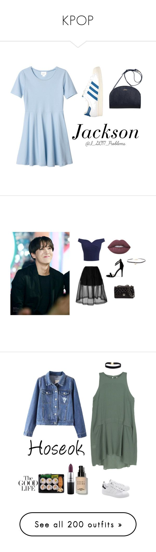"""""""KPOP"""" by snakecharmer2001 ❤ liked on Polyvore featuring Monki, adidas Originals, Jackson, GOT7, Simone Rocha, Humble Chic, Boohoo, Lime Crime, Bodkin and Bobbi Brown Cosmetics"""