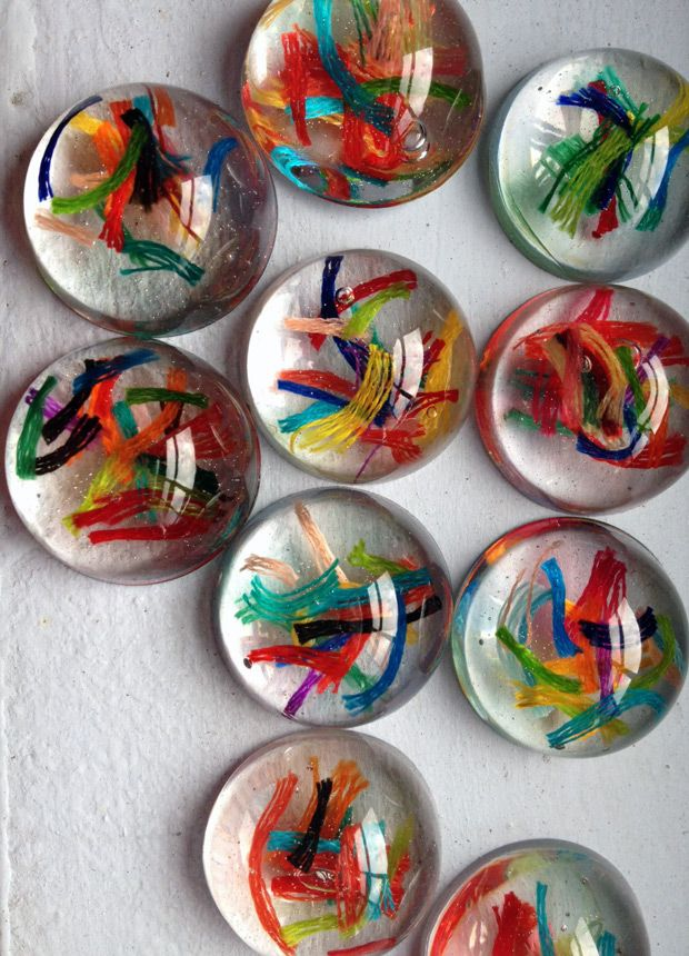 Colourful resin bubbles