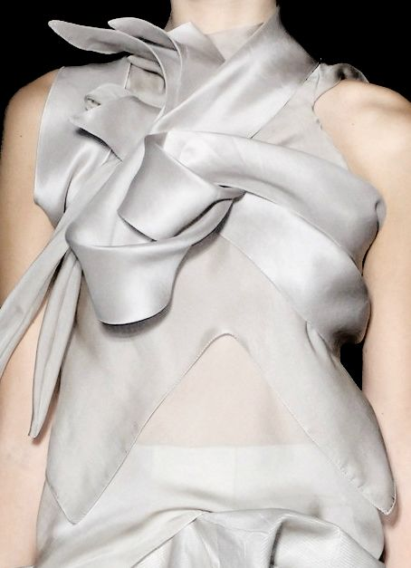 Beautifully structured pearl grey dress with layers & sculptural folds; artful fashion details // Rick Owens