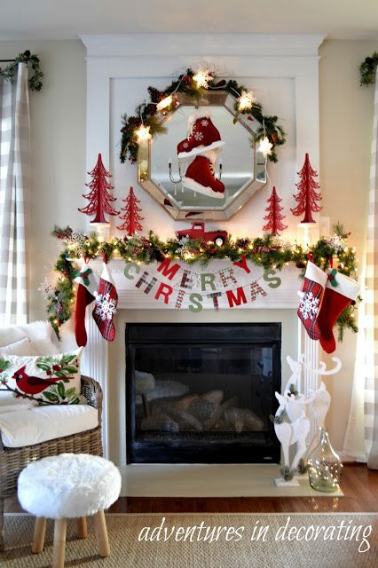 Best Christmas Fireplace Ideas On Pinterest Christmas Mantle - Christmas cabin fireplace scenes