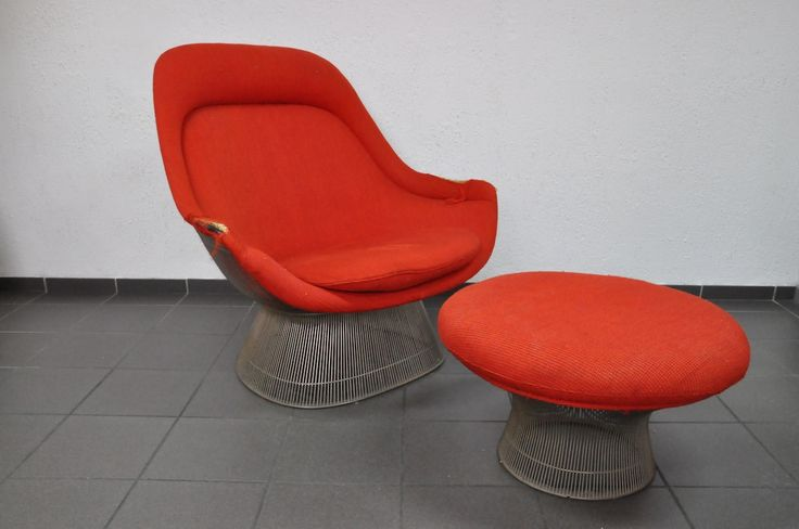 "Warren Plattner ""lounge wire chair""  für Knoll International in rotem Wollstoff"