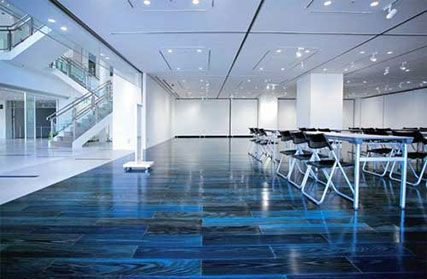 Flooring Made Of Japanese Cedar Stained With Indigo Dye At
