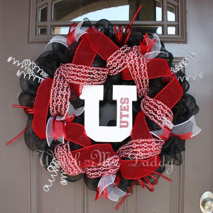 Utah Utes Black Mesh Wreath by getthedoor on Etsy, $60.00
