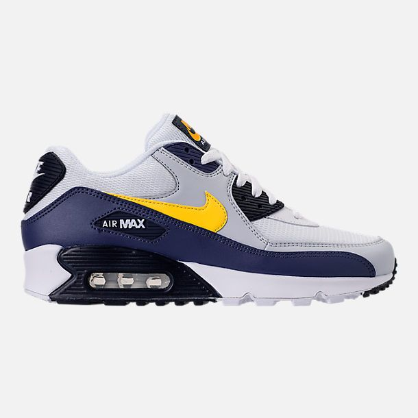 sports shoes bfcd5 96c64 Right view of Men s Nike Air Max 90 Essential Casual Shoes in White Tour  Yellow Blue Recall