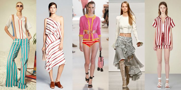 Ripped from beach umbrellas, weathered lounge chairs,and Nantucket awnings, one of the season's major stripetrends fits right in for summer. Left to Right: Rosie Assouline, Banana Republic, Altuzarra, Zimmermann, RED Valentino