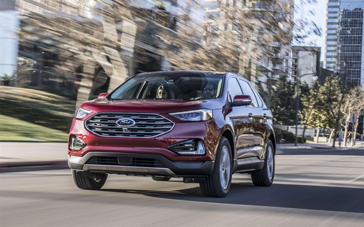 Download wallpapers Ford Edge, 4k, road, 2019 cars, SUVs, motion blur, new Edge, Ford