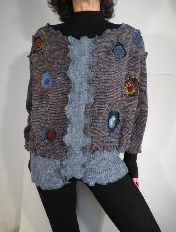 maglione donna,maglia donna,upcycled pullover,maglietta lana,maglia lana,jumper riciclato,manica a tre quarti,maglione con stoffa riciclata di decorandom su Etsy