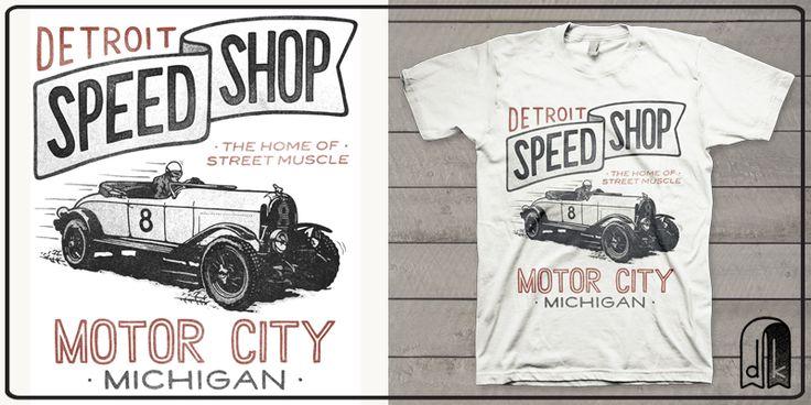 """""""Detroit Speed Shop"""" t-shirt design by deekin"""