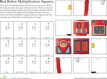 Worksheets: Build a Robot: Multiplication #5
