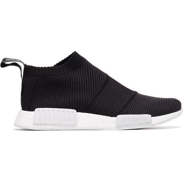 Adidas Black Gore-Tex NMD sneakers ($325) ❤ liked on Polyvore featuring men's fashion, men's shoes, men's sneakers, black, adidas mens shoes, mens gore tex shoes, mens black shoes, mens black sneakers and adidas mens sneakers