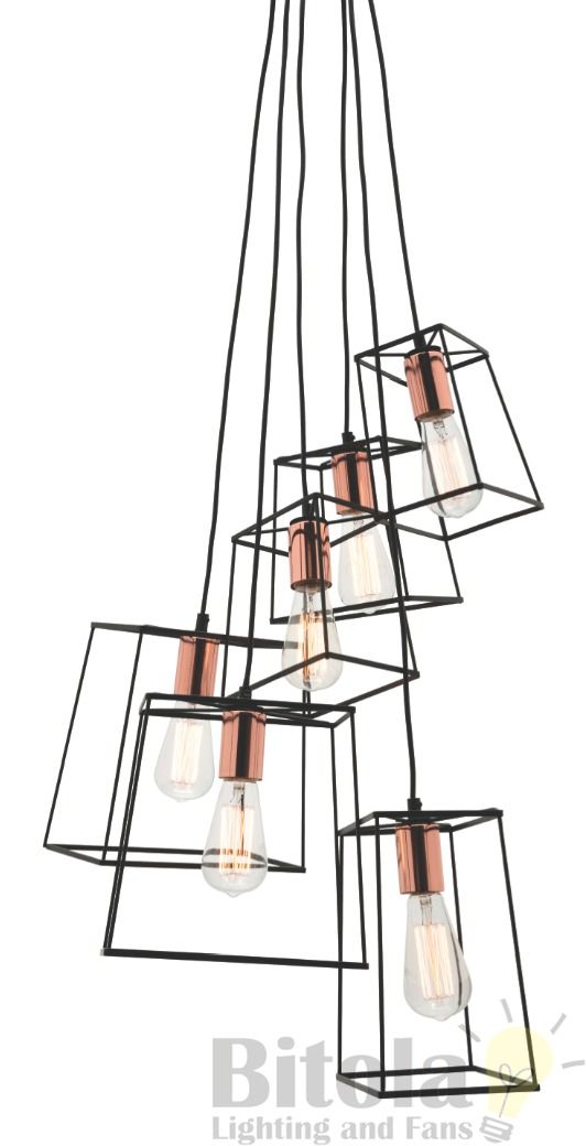 Mercator's Zappa 6 light cluster ceiling pendant. In stock and ready for immediate shipment.