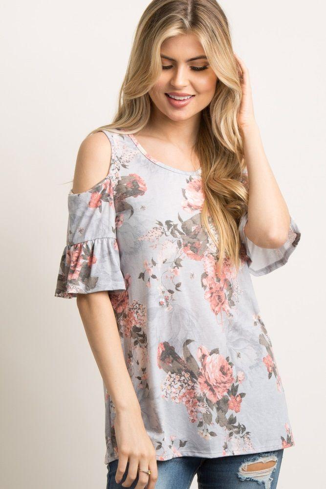 a2d3e2c1f3083 Light Grey Floral Ruffle Cold Shoulder Top | Pregos/Nursing ...