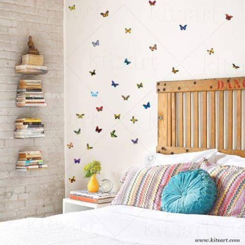Adesivos de parede - 48 borboletas muito realistas! medidas aproximadas: 5 a 7cm de largura x 5cm altura Acompanha o produto: Espátula e manual de instruções