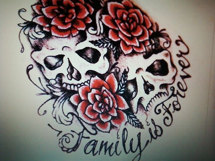 "This is the dumbest tattoo I've ever seen. It's like the person was like ""Ok, I want it to say 'family is forever' in really pretty cursive lettering...but then if you could surround that with really crappy looking skulls and flowers that'd be greeaattt""."