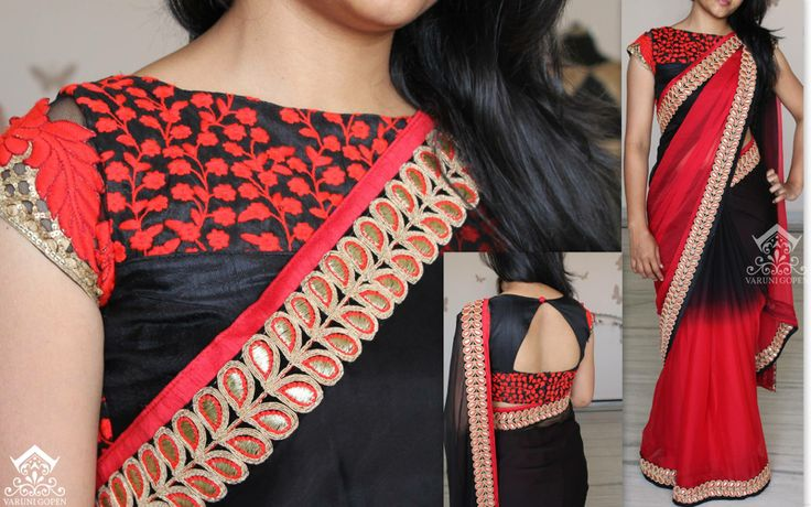 Shaded black and red dares with designer blouse