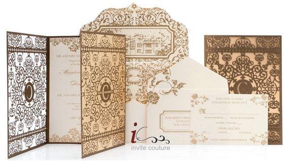 Custom Lasercut Luxury Wedding invitation Pocket  - Foil Stamped Luxury Invitations - Gold and Brown Laser Cut Invitations