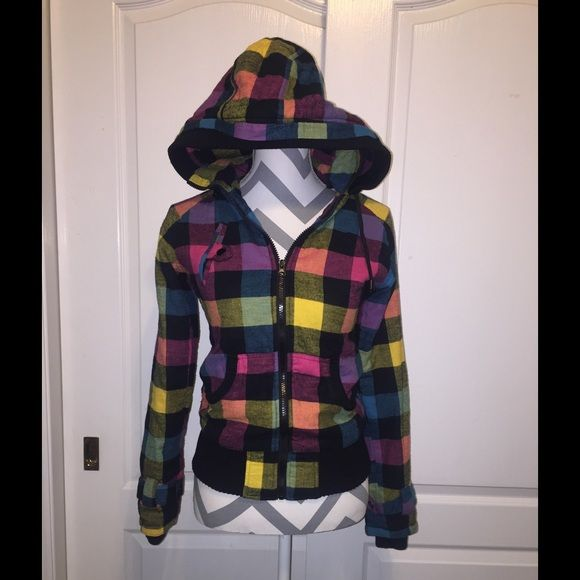 Multi Color Zip up Jacket Very cute multi color zip up jacket with hood. It's has pockets elastic band around waist and wrists. Jack by BB Dakota Jackets & Coats