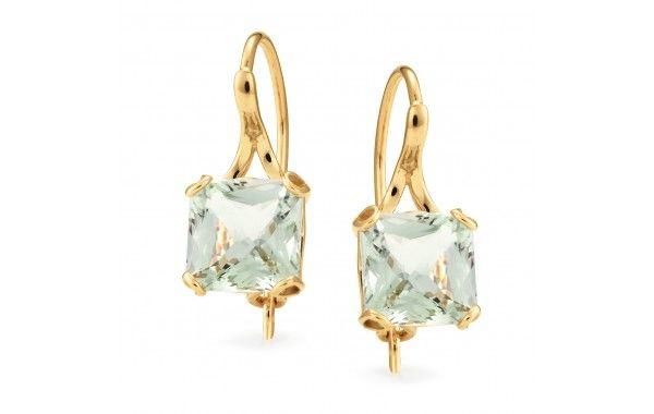 9ct yellow gold, green amethyst cushion cut drop earrings.