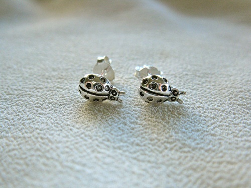 Sterling silver Ladybird stud earrings - ¡Q chulo!