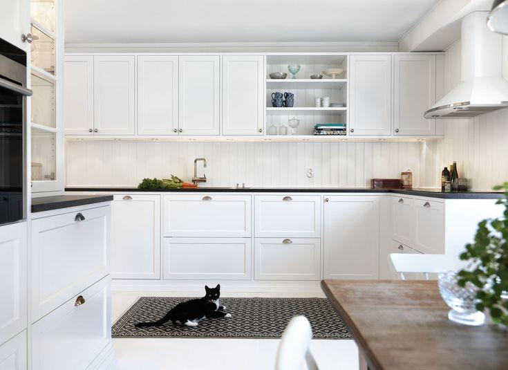 køkken - indretning - kat - cat - mode - sort og hvid - black and white