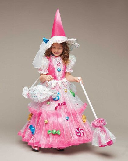 Candy Witch Costume For Girls - Pink, 6 - Chasing Fireflies