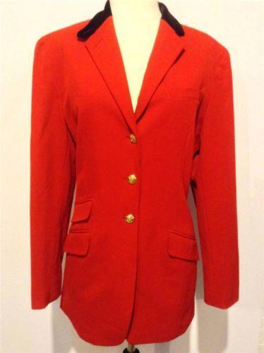 Ralph Lauren Womens Red Black Velvet Fitted Equestrian