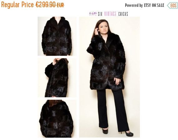VALENTINES DAY SALE Vintage Black Fur/ 80's fur coat/ Classic Style Real Fur Coat/ Vintage Woman's Fur/ Size M/38/ Free Shipping by SixVintageChicks on Etsy