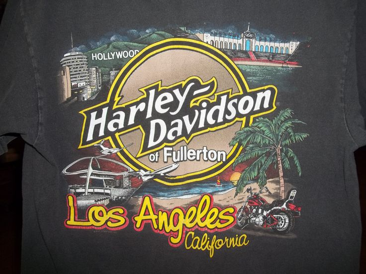 Harley Davidson T-shirt, Fullerton, Los Angeles, California, Vintage T-shirt, Medium Size, Black T-shirt, Hollywood, Motorcycles by VintageCoolETC on Etsy