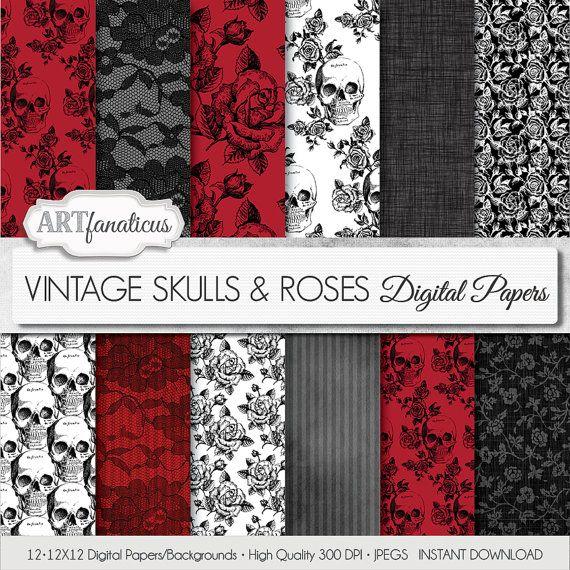 "Halloween documenti digitali ""VINTAGE teschi & fiori"" fiori vintage, vintage teschi, rose nere, Rose rosse, pizzo nero, gotico, fiori"