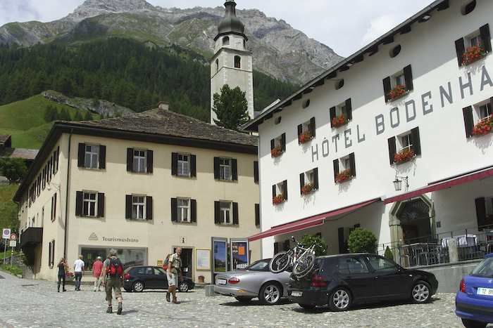 The stylish Hotel Bodenhaus in the centre of Splugen