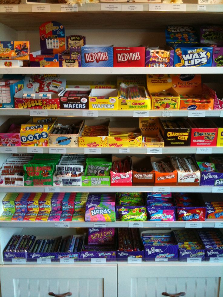 This is just one wall in our store. There are so many different kinds of candy that you'll want to spend hours in here!