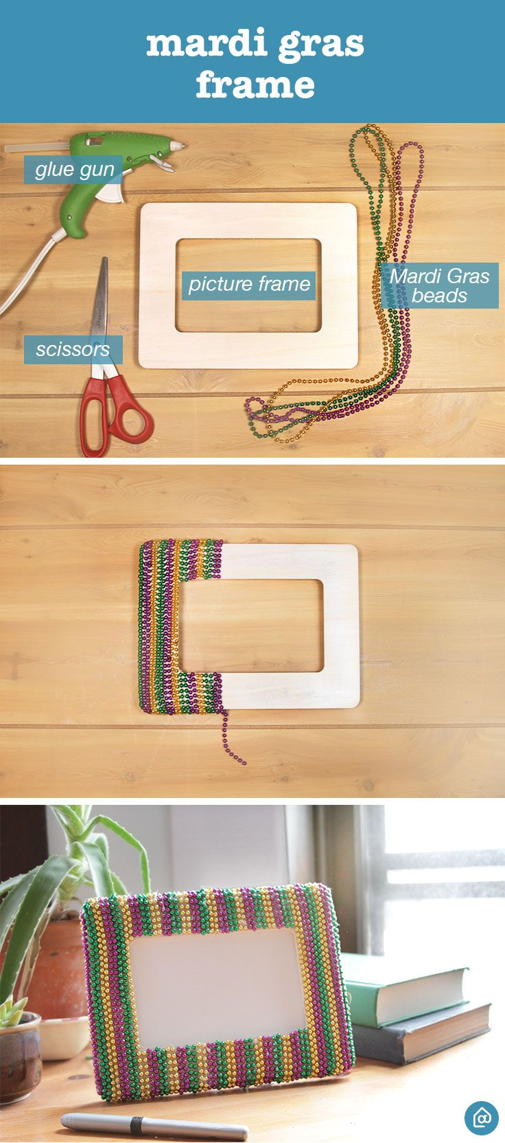 Celebrate Mardi Gras in style with this easy DIY frame. Use leftover Mardi Gras beads to wrap around a plain, flat picture frame. Cut the beads a little longer than the width of the frame and use a hot glue gun to hold the beads in place. Let it cool overnight.