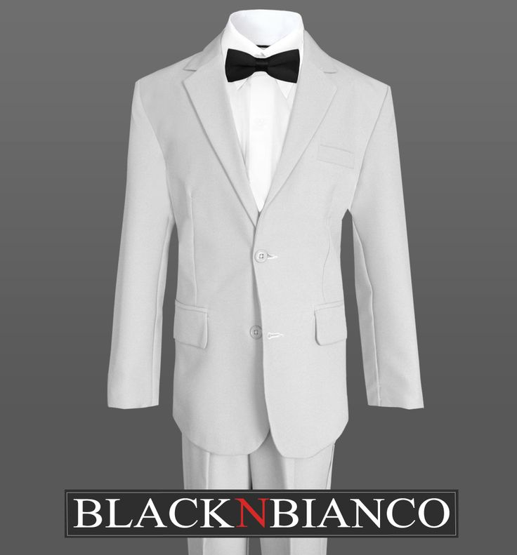 Rustic Ring Bearer Outfit. Gray Suit for boys with a slim black bow tie.