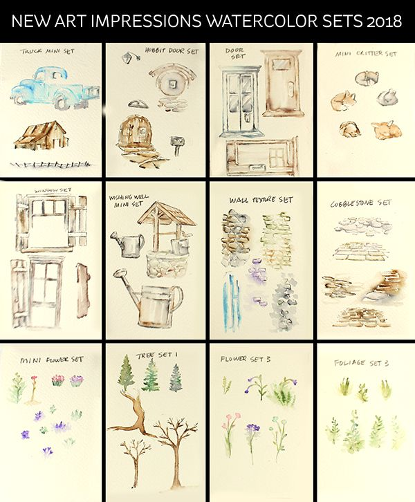"""AI new watercolor stamps: Hard and Soft Edges I'm taking a mini break in the """"interactive"""" Art Impressions series to bring you """"watercolor Art Impressions! Partly because I …"""