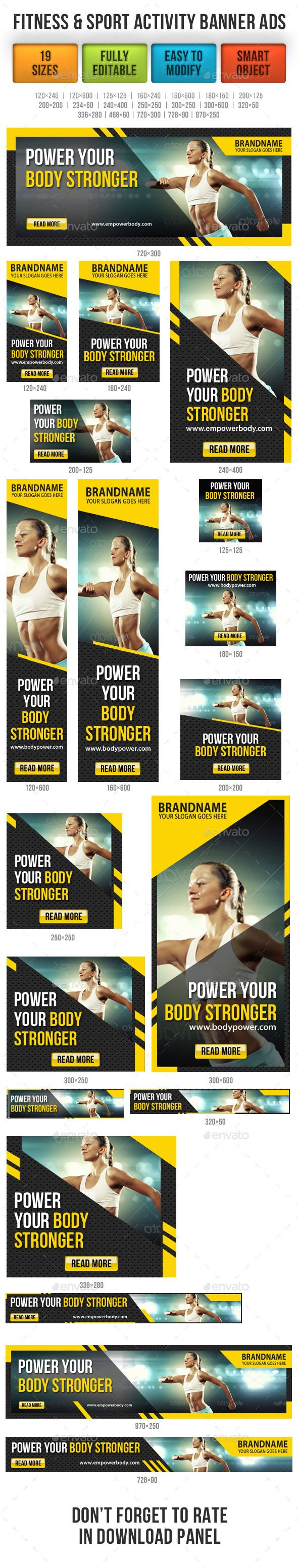 Fitness & Sport Activity Banner Ads Template PSD | Buy and Download: http://graphicriver.net/item/fitness-sport-activity-banner-ads/9120130?WT.ac=category_thumb&WT.z_author=rapidgraf&ref=ksioks