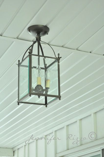 the oak house project diy porch ceiling light fixture before after - Patio Ceiling Lighting Ideas