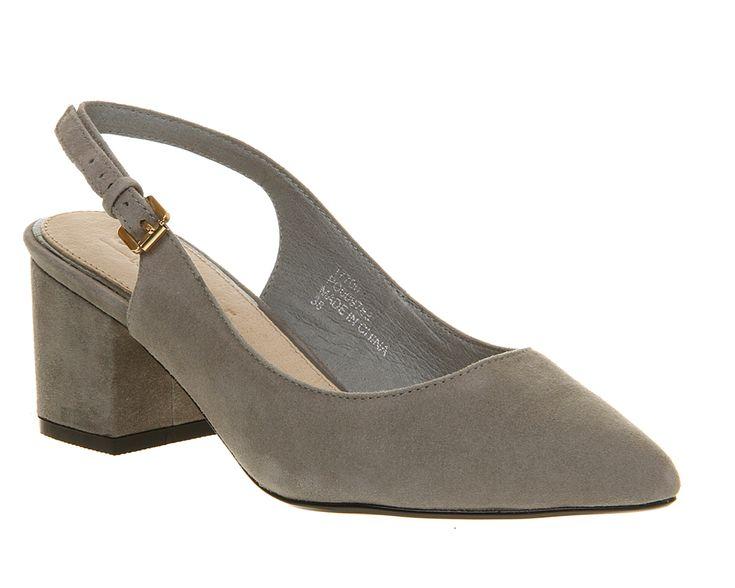Office Gail Slingback Grey Suede - Mid Heels