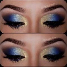 royal blue and gold makeup