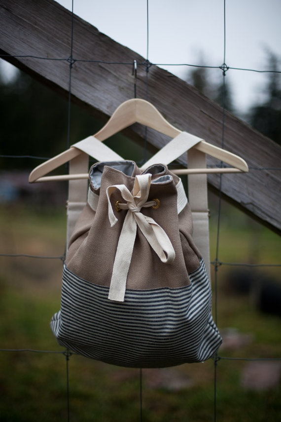 Canvas Drawstring Backpack -- stripes & canvas, tied up with a bow
