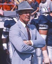 Tom Landry.....coach of the Dallas Cowboys 1960-1988. It was one of the saddest date in Texas History when Jerry Jones fired Coach Tom Landry.