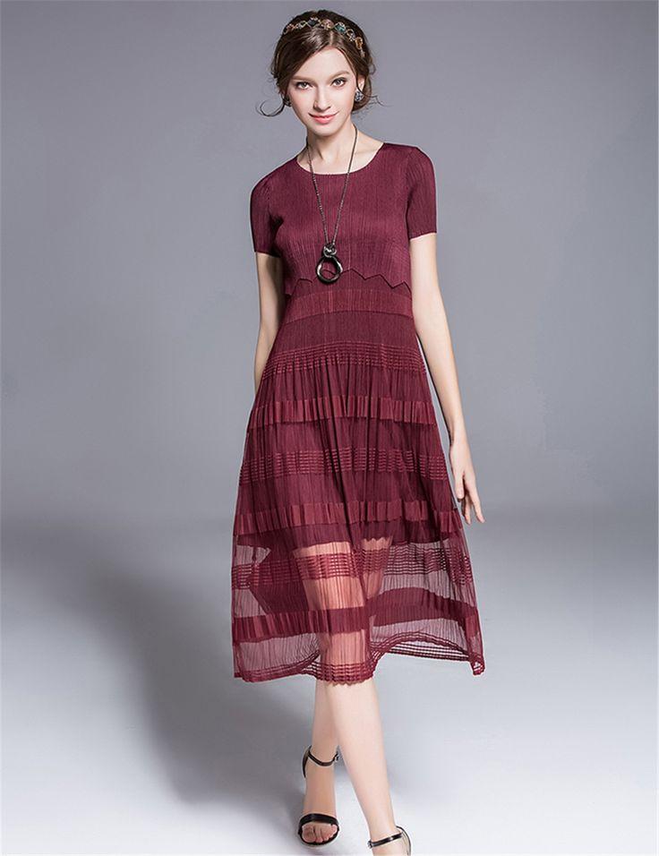 See-through Swing O-Neck Pleated Midi Dress