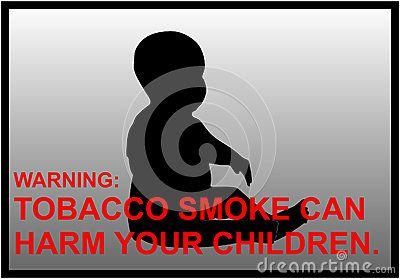 Vector anti-smoking warnings silhouette of a little boy.