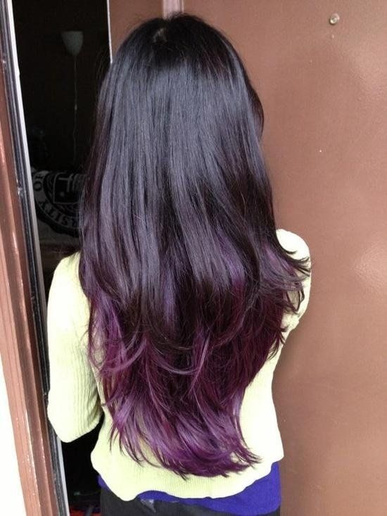 Dark brown/ almost black hair with dark purple tips. --I need to cut my hair, but before I do I want to dip the ends in some bright color and wear it like that for a little while!--
