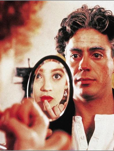 Robert Downey Jr, as Charlie, and Moira Kelly as Hetty Kelly in Chaplin c.1992