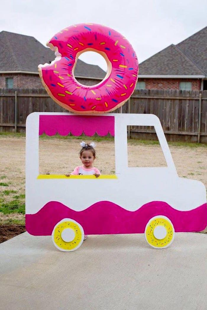 Birthday Girl and her Donut Truck from a Donut Themed Birthday Party via Kara's Party Ideas! KarasPartyIdeas.com (32)