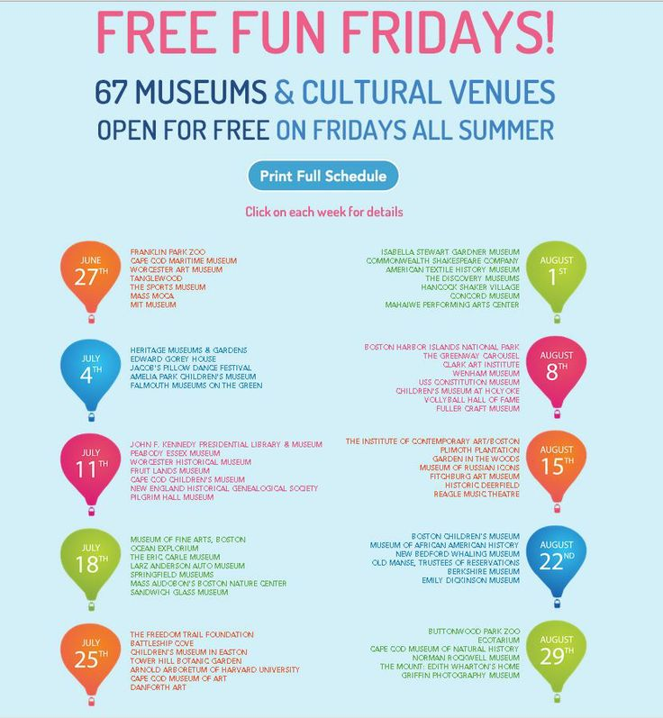 EVENTS: Free Fun Fridays are back! 66 museums and cultural venues open for free on Fridays all summer....